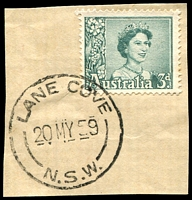Lot 892:Lane Cove (2): - 'LANE COVE/20MY59/N.S.W.' on 3d green QEII (First Day).  PO 21/6/1920.