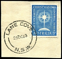 Lot 893:Lane Cove (2): - 'LANE COVE/25OC63/N.S.W.' (LRD) on 5d Xmas (First Day).  PO 21/6/1920.