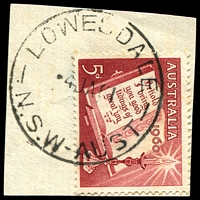 Lot 904:Lowesdale: - 'LOWESDALE/4JA61/N.S.W-AUST' on 5d Xmas.  PO 1/8/1876; closed 24/6/1994.