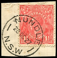 Lot 6244:Nundle: - 'NUNDLE/28OC27/N.S.W' on 1½d red KGV.  PO 1/1/1853.