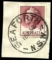 Lot 1335:Seaforth: - 'SEAFORTH/16JL58/N.S.W.' on 4d lake QEII.  RO 1/6/1927; PO 1/7/1927.