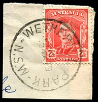 Lot 1365:Wetherill Park (1): - 'WETHERILL PARK/4AP49/N.S.W-AUST' on 2½d red KGVI.  PO 1/6/1893; closed 28/8/1980.