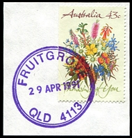 Lot 1153:Fruitgrove: - violet double-circle 'FRUITGROVE/29APR1991/QLD 4113' on 43c Thinking of You.  PO 13/7/1964.