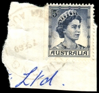 Lot 1322:Moilong: - '[M]OILONG/????7SE60/STH AUST' on 5d blue QEII. [Rated 2R]  TO c.1924; PO 1/2/1945; renamed Saint Kilda PO 13/9/1965.