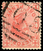 Lot 1685:105: '105' 2nd type on 1d pink.  Allocated to Goldborough-PO 1/3/1856; renamed Dunolly PO 5/1/1859.