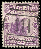 Lot 1882:111: type 1AR on 2d violet.  Allocated to Taradale-PO 1/3/1856; LPO 31/10/1994.