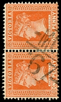 Lot 11117:1367: 'MC[CC]/67' on 1d brown pair. [Rated SS]  Allocated to Dark River-PO 1/12/1883; closed 30/9/1905.