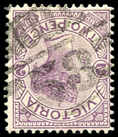 Lot 11144:1458: 'MCCCC/58' 2nd type on 2d violet. [Rated R]  Allocated to Drummond North-PO 1/4/1885; closed 30/4/1956.
