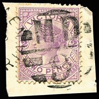 Lot 11152:1509: 'MD/9' on 2d violet tied by small part of unframed Brimpaen cds.  Allocated to Brimpaen-PO 1/5/1886; TO 2/1/1957; closed 19/9/1957.