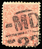 Lot 12866:1522: 'MD/22' on 1d pink.  Allocated to Woori Yalloak-PO 1/7/1886; renamed Woori Yallock PO c.1911.