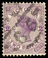 Lot 11168:1565: 'MD/65' on 2d violet. [Rated SS]  Allocated to Burnley-RH 21/3/1887; PO c.1893; LPO 24/5/1993.