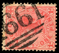 Lot 12382:1661: '1661' on 1d pink.  Allocated to Narracan R.S.-PO 10/9/1888; renamed Narracan Railway Township PO 2/1/1899; closed 31/8/1974.