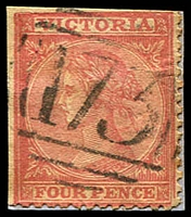 Lot 1889:173: type 1B on 4d red Laureate. [Rated R]  Allocated to Daylesford-PO 1/2/1858; LPO 1/5/1998.