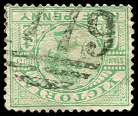 Lot 2165:1779: '1779' on ½d green Stamp Duty.  Allocated to Fish Creek-PO 6/10/1890; LPO 18/3/1994.