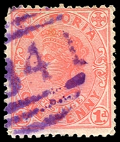 Lot 2269:1841: '[1]841' in violet on 1d pink. [Rated 4R]  Allocated to Redesdale Junction-PO 8/7/1891; RO 1/9/1917; PO 1/7/1927; closed 16/10/1954.