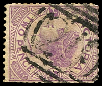 Lot 10535:211: on 2d violet.  Allocated to Greensborough-PO 17/7/1858.