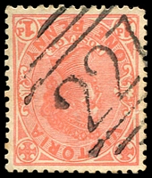 Lot 10548:227: '227' type 2R on 1d pink.  Allocated to Anakie-PO 15/10/1858; LPO 15/10/1993.