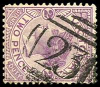 Lot 1706:'231' type 2 on 2d violet. [Rated 2R; probably used at Langwarrin for the Boer War camps.]  Allocated to Sinnott's Diggings-PO 15/11/1858; closed 31/12/1859.