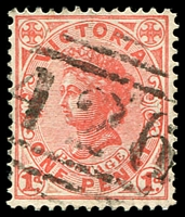 Lot 1779:426: '426' on 1d pink. [Rated 2R]  Allocated to St. Leonards-PO 1/3/1863; LPO 8/3/1994.