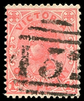 Lot 1953:452: '452' on 1d pink. [Rated SS]  Allocated to Dry Diggings-PO 23/11/1863; renamed Mount Franklin PO 13/6/1921.