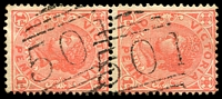 Lot 11850:501: 2 partly overlapping strikes on 1d pink pair. [Rated 2R]  Allocated to Enoch's Point-PO 1/1/1865; RO 15/3/1918; closed 8/5/1920.