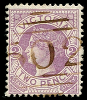 Lot 10703:502: brownish '502' on 2d Naish. [Rated 2R]  Allocated to Oaklands Junction-PO 1/1/1865, provisionally closed 30/6/1971; closed 1/10/1971.