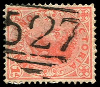 Lot 10717:527: '527' on 1d pink.  Allocated to Maidentown-PO 18/7/1865; renamed Llanelly PO c.-/6/1882; closed 9/9/1994.