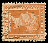 Lot 10734:576: '576 on 1d brown.  Allocated to Deans Marsh-PO 3/11/1866; LPO 9/9/1993.
