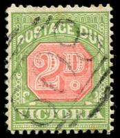 Lot 1843:on 2d Postage Due. [Rated S]  Allocated to Evansford-Replaced Stewarton PO 1/6/1867; closed 30/6/1971.
