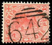 Lot 10752:642: '642' on 1d pink.  Allocated to Beaumaris-PO 1/3/1868; renamed Gipsy Village PO 1/4/1868; closed 31/12/1871.