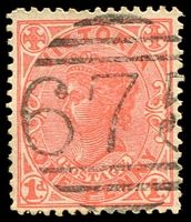 Lot 1861:675: '675' Type 6B on 1d pink. [Rated R]  Allocated to Spring Creek-PO 24/12/1868; renamed Graytown PO 1/4/1870; closed 31/10/1972.
