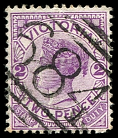 Lot 1865:684: '684' on 2d violet. [Rated R]  Allocated to Fiddler's Creek-PO 1/7/1869; renamed Percydale PO 21/11/1871; closed 10/3/1942.