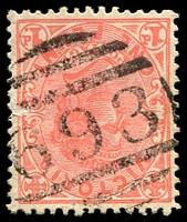 Lot 12456:693: 2nd Type (7mm high) on 1d pink.  Allocated to Oxley Plains-Renamed from Oxley PO 1/1/1870; renamed Milawa PO 22/10/1874; LPO 1/8/1994.