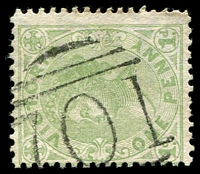 Lot 2014:701: '701' on 1d green.  Allocated to Glenrowan-PO 22/2/1870; LPO 15/9/1993.
