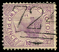 Lot 1877:724: '724' 1st type on 2d violet. [Rated R]  Allocated to Hazelglen-PO 8/12/1870; renamed Doreen PO 20/5/1895; LPO 1/8/1994.