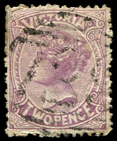 Lot 12489:729: '729' on 2d violet. [Rated 2R]  Allocated to Warrambine-PO 16/1/1871; renamed Hesse PO 14/2/1871; closed 1/7/1899.