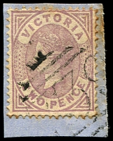 Lot 11975:739: '739' on 2d Bell (toned perfs).  Allocated to Kiewa-PO 13/3/1871; LPO 1/6/1994.