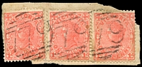 Lot 10832:779: 3 partly overlapping strikes of BN on 1d pink x3 (1x pair).  Allocated to Lower Buckland-PO 23/5/1872; renamed Buckland Lower PO c.1893; RO 22/5/1923; PO 1/7/1927; closed 9/1/1961.