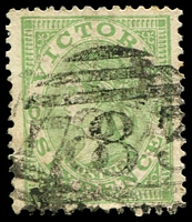 Lot 11996:783: doubled '783' 2nd type on 6d green Postage.  Allocated to Hawthorn Lower-RH 1/7/1872; PO c.1902; replaced by Hawthorn West PO 9/8/1907.