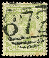 Lot 10875:872: '872' on 1d green (tone spots).  Allocated to Yan Yean-PO 19/2/1875; renamed Yan Yean South PO 15/12/1892; renamed Mernda PO 2/4/1913.