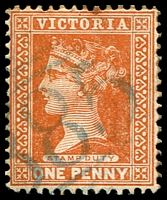 Lot 12568:885: '885' in blue on 1d brown.  Allocated to Grantville-PO 1/7/1875; LPO 19/10/1994.