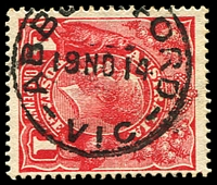 Lot 12453:Abbotsford: - WWW #40A 24½mm 'ABBO[TS]FORD/19NO14/VIC' on 1d red KGV. [Rated 2R]  PO 9/1/1888; LPO 4/1/2000.
