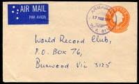 Lot 3416:Armadale: 'ARMADALE/17MAR1977/W.A. 6112' (G33Ra) in violet on 18c Envelope, 'Air Mail' Label attached.  PO 1/9/1898.
