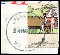 Lot 3479:Greenwood: - 'GREENWOOD/24MAR1977/WA 6024' (G32R-a) on 18c Cricket.  PO 1/8/1975.
