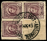 Lot 672:Jervis Bay: - 'JERVIS BAY/8OC43/FEDERAL TERRITORY' on 1d brown QE block of 3.  PO 12/8/1912.