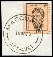 Lot 673:Macquarie (2): - 'MACQUARIE/16NO70/ACT-AUST' on 6c Macquarie.  Renamed from Macquarie West PO 2/1/1969; closed 27/3/1987.