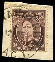 Lot 674:Weetangerra: - '[WEE]TANGERRA/12MR51/A.C.T' on 3d brown KGVI.  PO 15/6/1899; closed 30/11/1967.