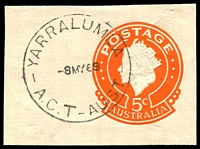 Lot 675:Yarralumla (2): - 30mm 'YARRALUMLA/8MY69/A.C.T-AUST' (large 'T') on 5c cut-out.  Renamed from West Ridge PO 2/3/1953.