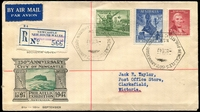 Lot 573:1947 Newcastle Philatelic Exhibition hexagonal 'NEWCASTLE'S 150TH ANNIVERSARY/8SE47/N.S.W./PHILATELIC EXHIBITION' (A1) cancelling Newcastle set of 3 on illustrated souvenir cover with provisional blue C6 registration label, neat typed address.