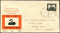 Lot 522:Haslem 1954 WA Stamp Centenary on red & black illustrated FDC, cancelled with 'MONTAGUE/2AU54/VIC' (B2), typed addressed, few small tone spots.